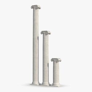 3d ionic column greco roman