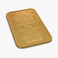 gold bar 10g 3d model