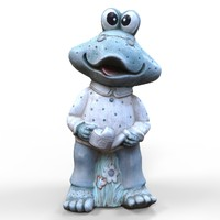 garden statue frog 3d model