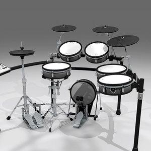 drums kit electronic 3d c4d
