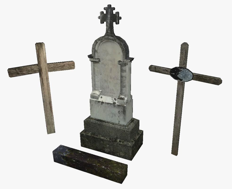 3d grave gravestone stone model