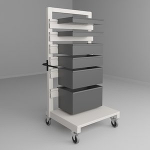 mobile height adjustable carts obj