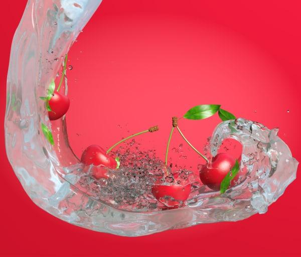 scene cherries water 3d model