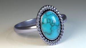 3d model blue opal ring