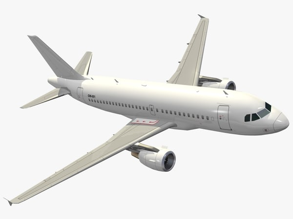 airbus a319-114 generic white 3d model