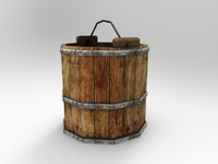woodenbucket bucket wooden 3d max