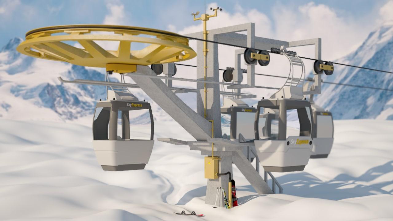 3d cableway ski lift