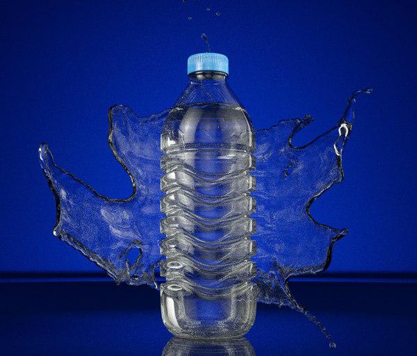 water bottle splash animation 3d model