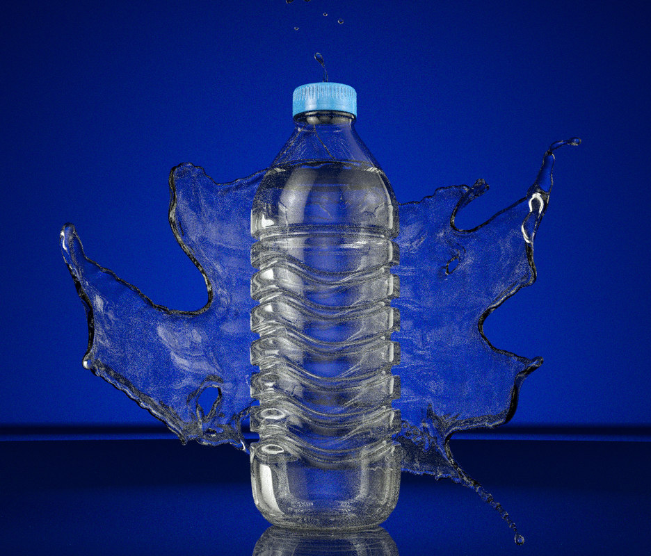 water bottle splash animation 3d model