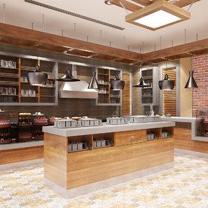 3d model cafe interior