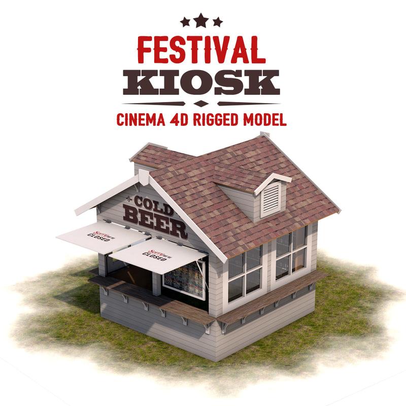 kiosk festivals rigged 3d 3ds