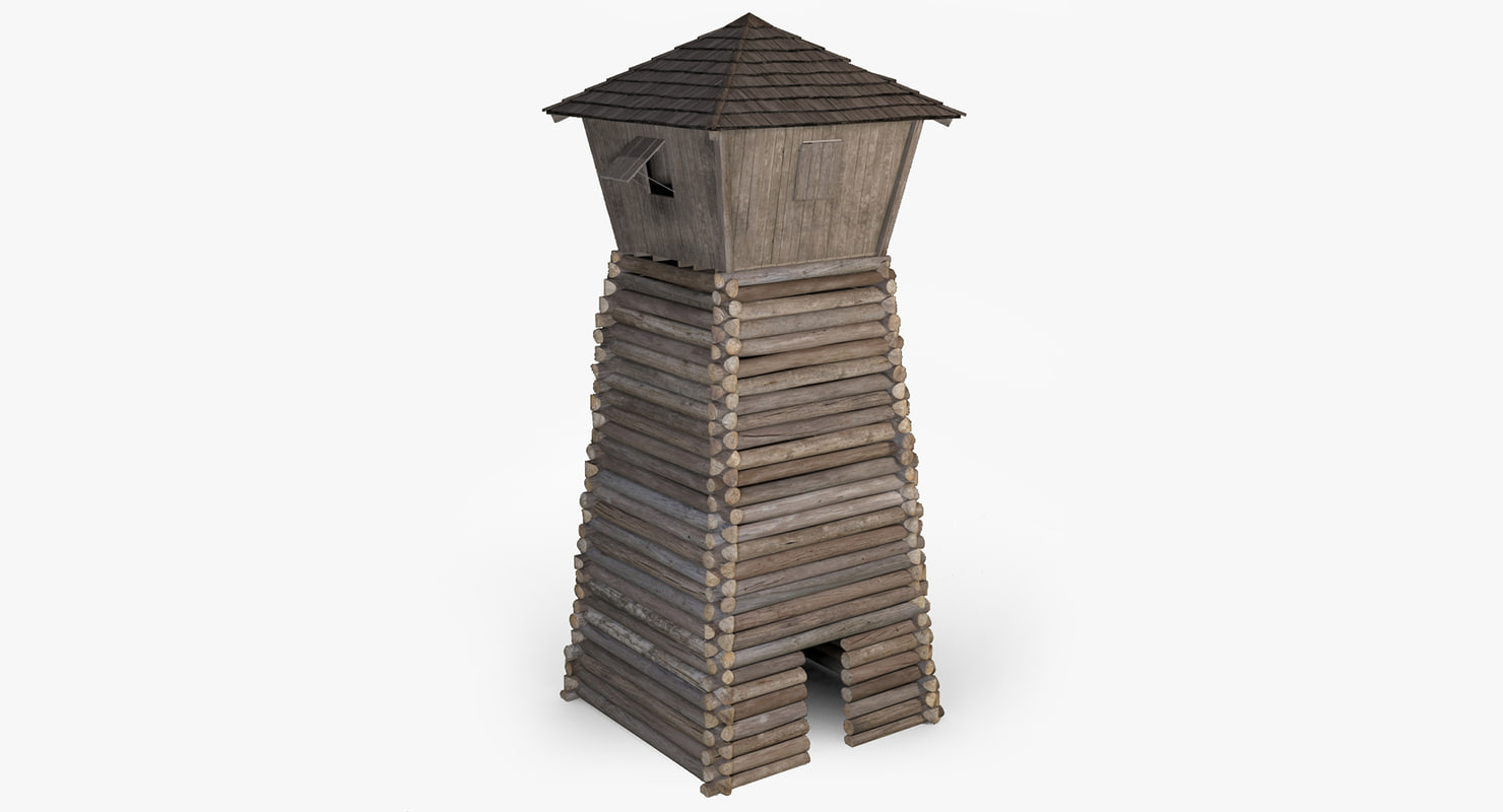 3d wooden guard tower medieval model