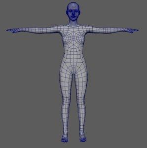 human polygonal 3d obj