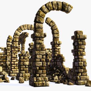 3d ancient wall ruins model
