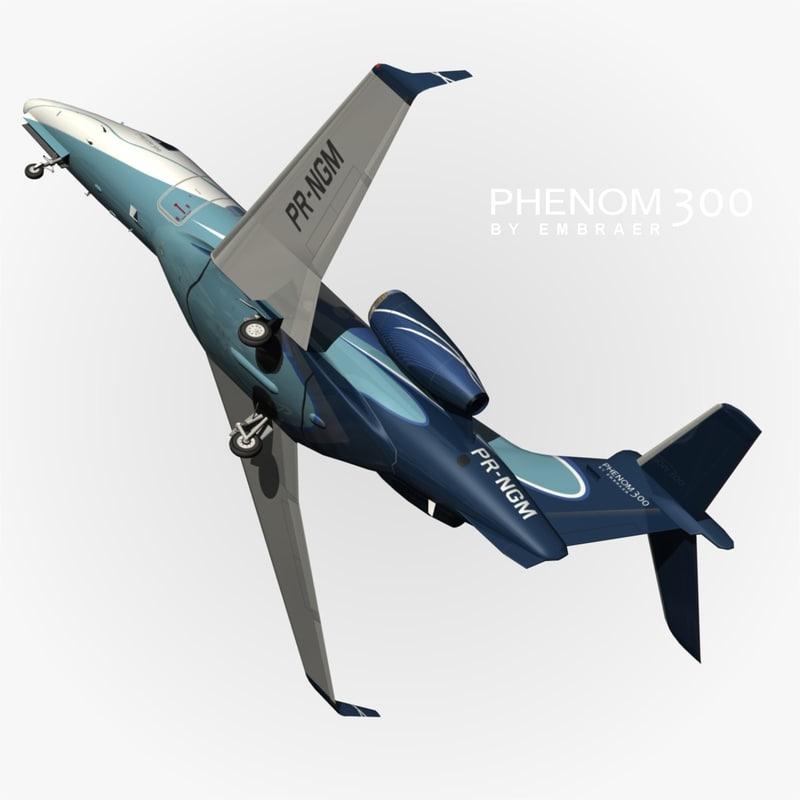 embraer phenom 300 blue obj