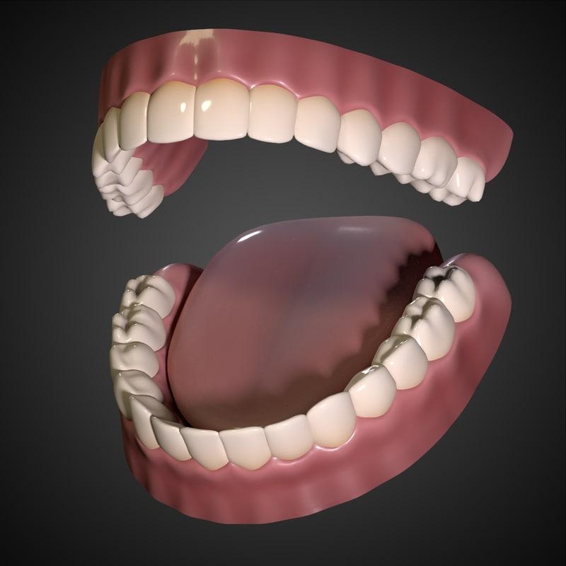 obj mouth interior gums teeth tongue