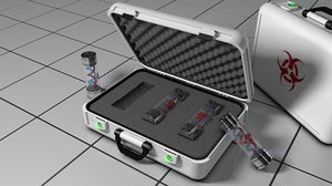 3d model of virus container briefcase