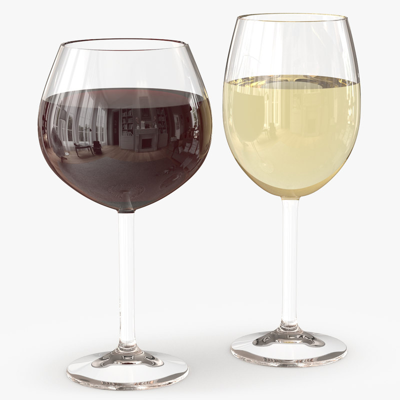 3d red white wine glass