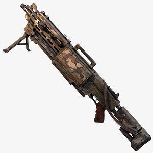 3d model fictional machine gun