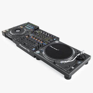 3d model realistic pioneer dj set