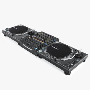 realistic pioneer dj set 3d obj