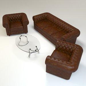 3d model chesterfield set sofa