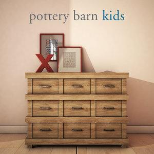 3d potterybarn owen dresser model