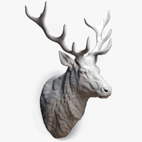 obj deer stag head sculpture