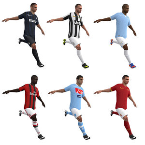 3d model rigged soccer players