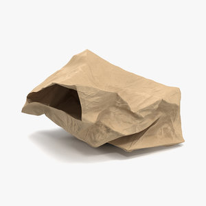 crumpled fast food paper bag 3ds