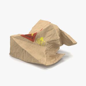 crumpled fast food paper bag max