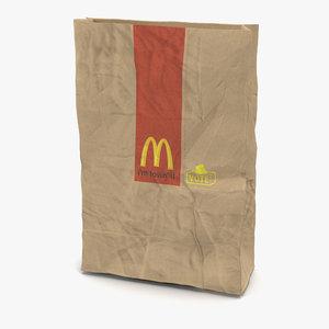 crumpled fast food paper bag 3d max