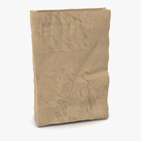 3d model crumpled fast food paper bag