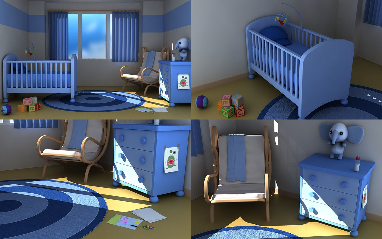 3d model cartoon baby nursery