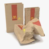 fast food paper bags 3d max