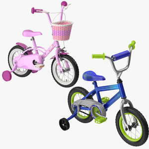 little boy girl bicycle 3d model