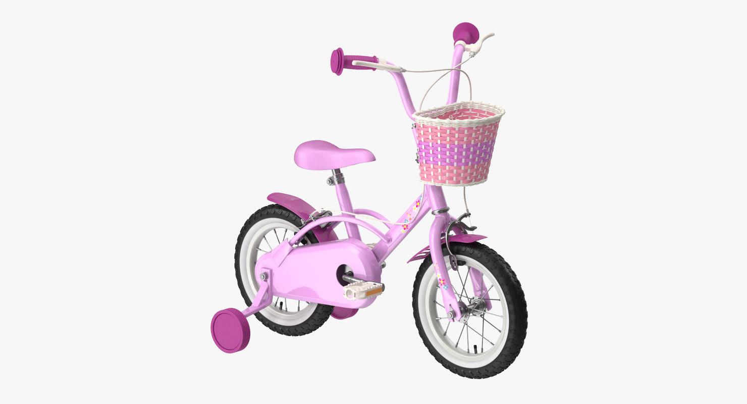 3d c4d little girl bicycle