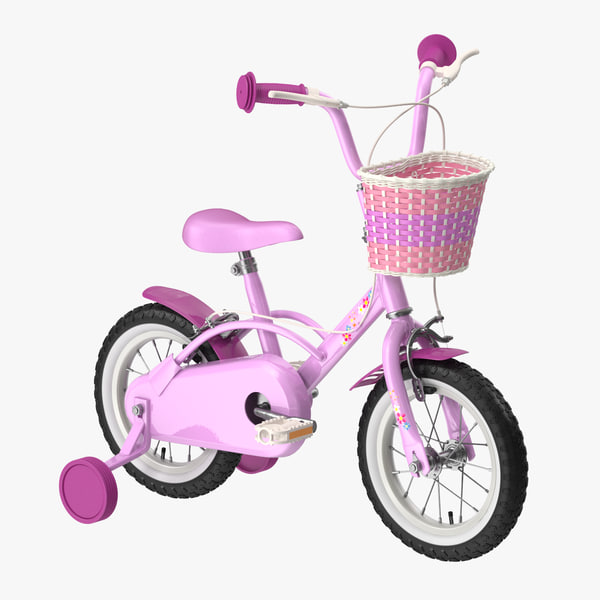 3d c4d little girl bicycle