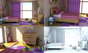 cartoon girl room 3d max