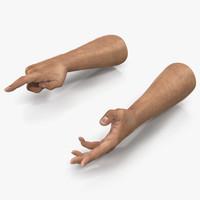 3d man hands fur rigged model