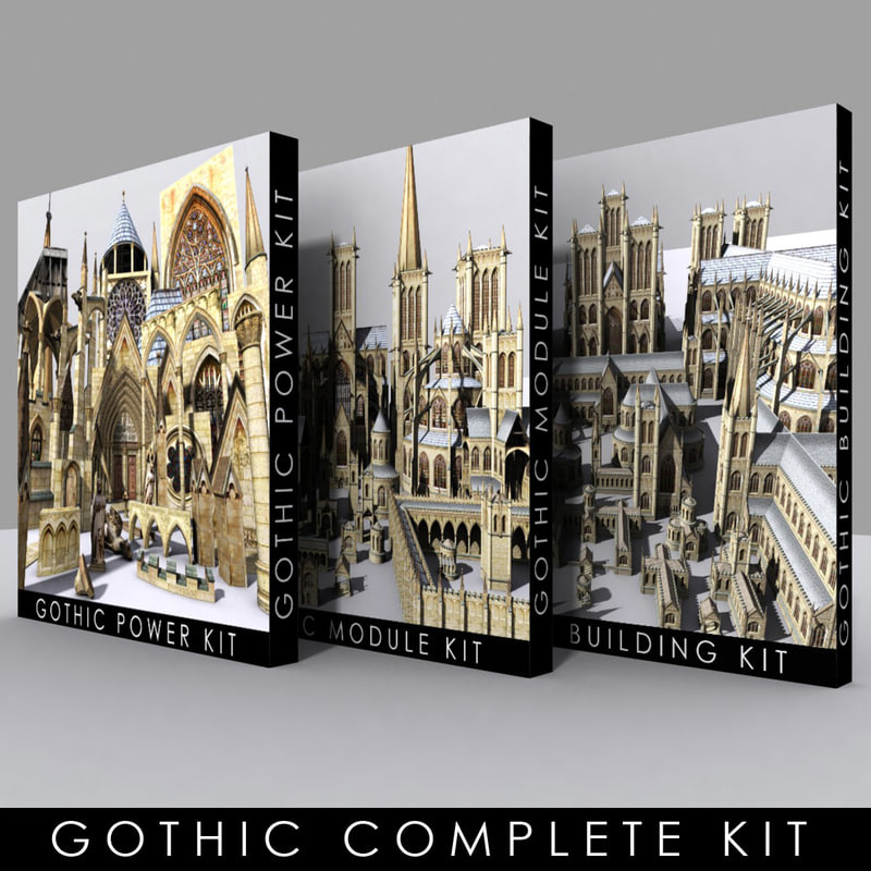 3d model kits gothic cityscapes