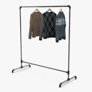 iron clothing rack 3 3d model