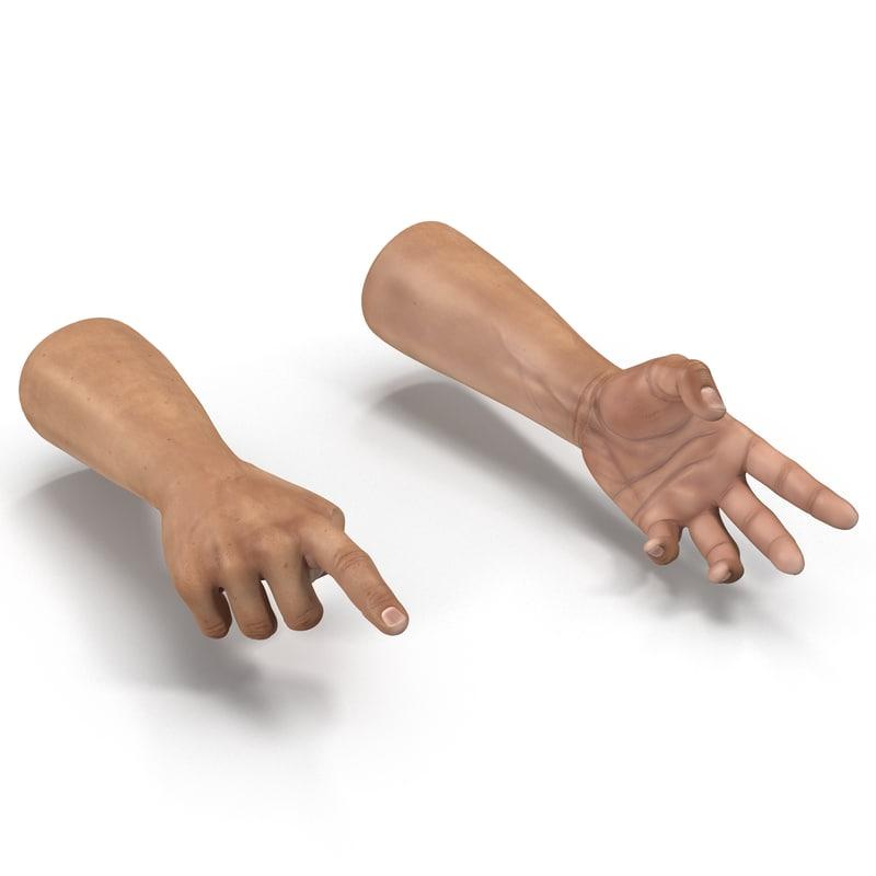 3d man hands rigged model