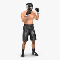 3d adult boxer man pose