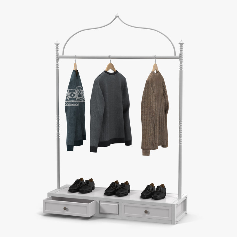 iron clothing display rack 3d model