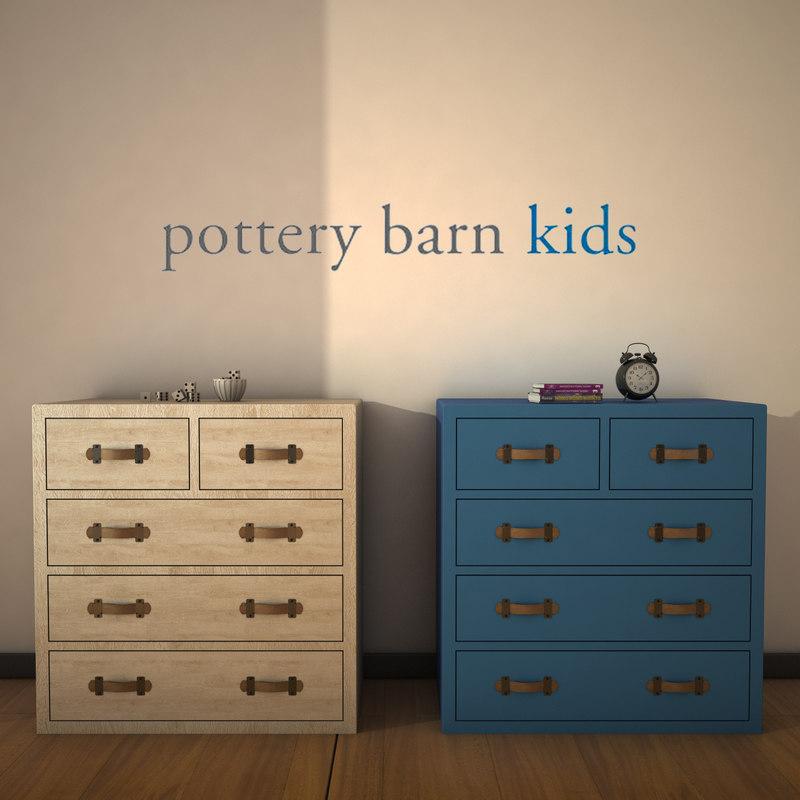 3d potterybarn tuckerdrawerchest