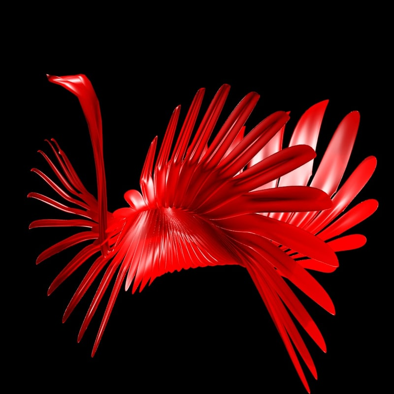 3d model abstract peacock