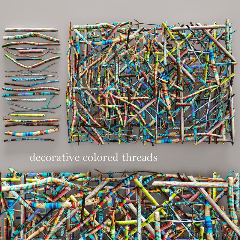 decorative colored threads obj