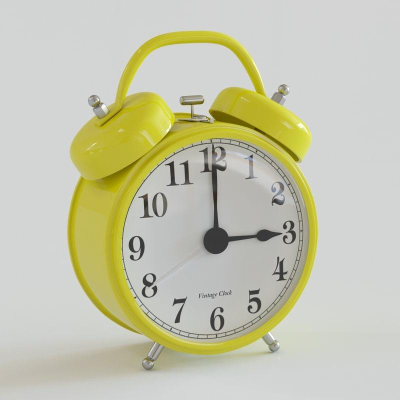 windup alarm clock 3d max