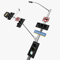 california traffic signal la 3d model